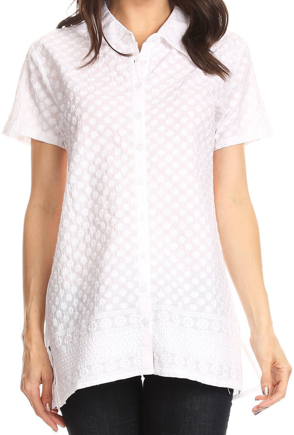 Sakkas Kiera Short Sleeve Embroidered Eyelet Woven Shirt#color_White