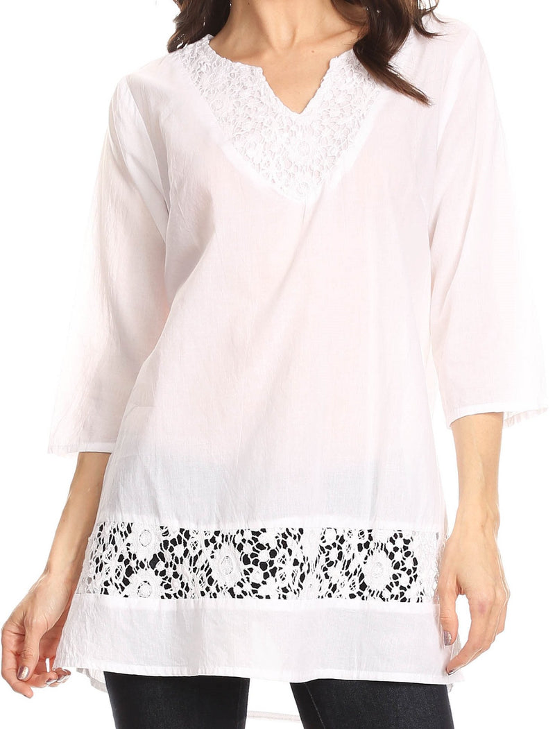 Sakkas Elisa V-Neck Elbow Sleeve Crochet Lace Tunic