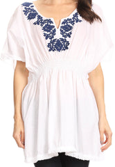 Sakkas Octavia Smocked Dolman Sleeve Fringe Blouse with Split Neck and Embroidery