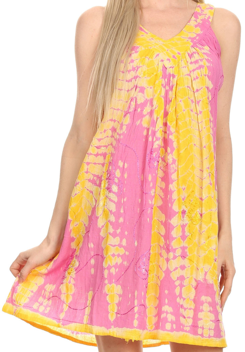 Sakkas  Amber Rose Sleeveless V-Neck Embroidered Ombre Tie Dye Tank Top Blouse / Tunic