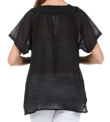 Sakkas Square Neck Button Detail Semi-Sheer Gauzy Cotton Blouse