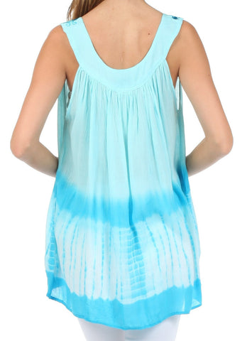 Sakkas Ombre Tie Dye Gauzy Crepe Sleeveless Relaxed Fit Top / Blouse
