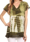Sakkas Violet Embroidery Tie Dye Sequin Accents Blouse / Top#color_Army Green
