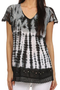 Sakkas Violet Embroidery Tie Dye Sequin Accents Blouse / Top#color_Black