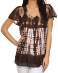 Sakkas Violet Embroidery Tie Dye Sequin Accents Blouse / Top#color_Brown