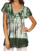 Sakkas Violet Embroidery Tie Dye Sequin Accents Blouse / Top#color_Dark Green