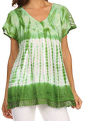 Sakkas Violet Embroidery Tie Dye Sequin Accents Blouse / Top#color_Green