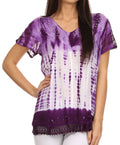Sakkas Violet Embroidery Tie Dye Sequin Accents Blouse / Top#color_Purple