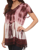 Sakkas Violet Embroidery Tie Dye Sequin Accents Blouse / Top