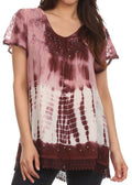 Sakkas Violet Embroidery Tie Dye Sequin Accents Blouse / Top#color_Rose