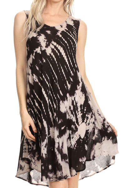 Sakkas Falani Tie Dye Sleeveless Long Tank Style Dress | Cover Up