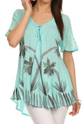 Sakkas Albina Island Relaxed Fit Embroidery Cap Sleeves Blouse / Top#color_Mint