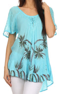 Sakkas Albina Island Relaxed Fit Embroidery Cap Sleeves Blouse / Top#color_Turquoise