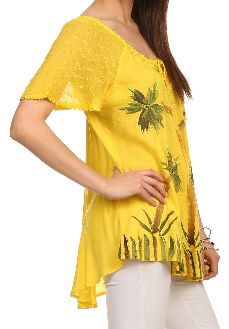 Sakkas Albina Island Relaxed Fit Embroidery Cap Sleeves Blouse / Top