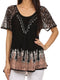 Sakkas Cora Relaxed Fit Batik Design Embroidery Cap Sleeves Blouse / Top#color_Black / Beige