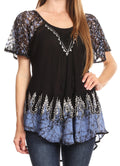 Sakkas Cora Relaxed Fit Batik Design Embroidery Cap Sleeves Blouse / Top#color_Black / Blue