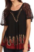 Sakkas Cora Relaxed Fit Batik Design Embroidery Cap Sleeves Blouse / Top#color_Black / Gold