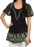 Sakkas Cora Relaxed Fit Batik Design Embroidery Cap Sleeves Blouse / Top#color_Black / Green
