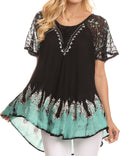 Sakkas Cora Relaxed Fit Batik Design Embroidery Cap Sleeves Blouse / Top#color_Black / Mint