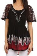 Sakkas Cora Relaxed Fit Batik Design Embroidery Cap Sleeves Blouse / Top#color_Black / Red