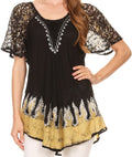 Sakkas Cora Relaxed Fit Batik Design Embroidery Cap Sleeves Blouse / Top#color_Black / Yellow