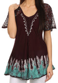 Sakkas Cora Relaxed Fit Batik Design Embroidery Cap Sleeves Blouse / Top#color_Burgundy