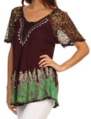 Sakkas Cora Relaxed Fit Batik Design Embroidery Cap Sleeves Blouse / Top
