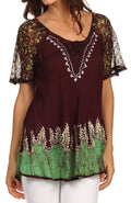 Sakkas Cora Relaxed Fit Batik Design Embroidery Cap Sleeves Blouse / Top#color_Chocolate / Green