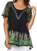 Sakkas Cora Relaxed Fit Batik Design Embroidery Cap Sleeves Blouse / Top#color_Navy / Green