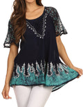 Sakkas Cora Relaxed Fit Batik Design Embroidery Cap Sleeves Blouse / Top#color_Navy Turquoise