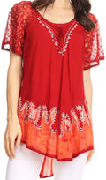 Sakkas Cora Relaxed Fit Batik Design Embroidery Cap Sleeves Blouse / Top#color_Red Chili