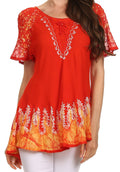 Sakkas Cora Relaxed Fit Batik Design Embroidery Cap Sleeves Blouse / Top#color_Sunset Orange