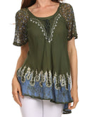 Sakkas Cora Relaxed Fit Batik Design Embroidery Cap Sleeves Blouse / Top#color_Teal