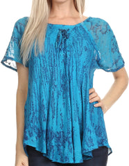 Sakkas Zoya Marbled Embroidery  Cap Sleeves Blouse / Top