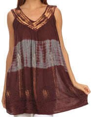 Sakkas Nita Batik Relaxed Fit Scoop Neck Sleeveless Top