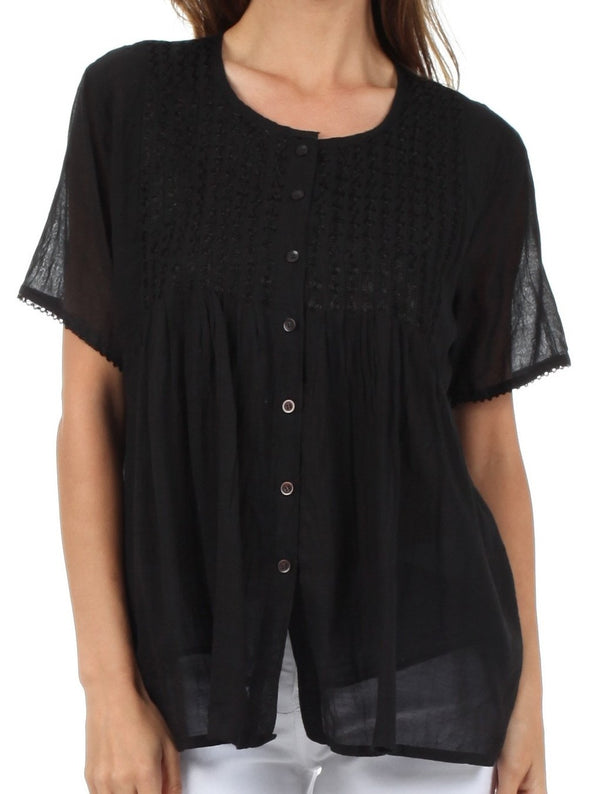 Sakkas Button Down Embroidered Short Sleeve Semi-Sheer Gauzy Cotton Top / Blouse