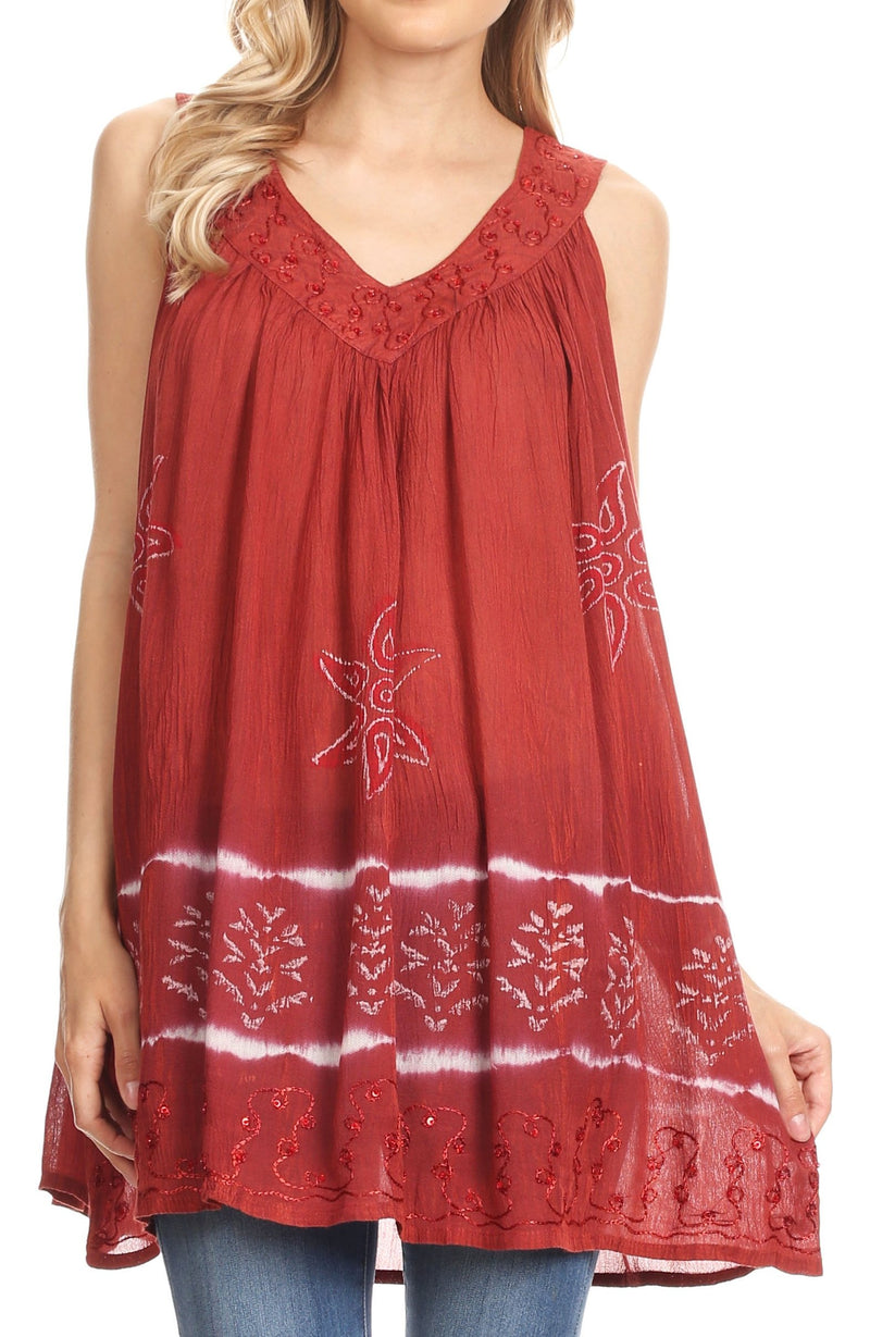 Sakkas Ruth Sequin Embroidered Batik Relaxed Fit Sleeveless V-Neck Top
