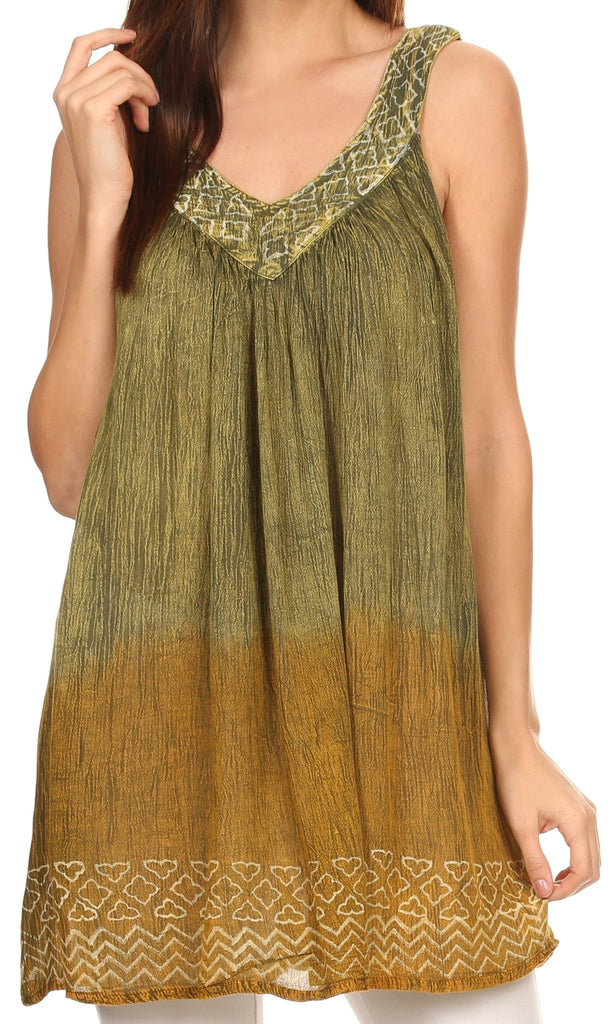 Sakkas Merida Ombre Relaxed Fit Sleeveless V-Neck Blouse