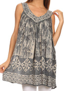 Sakkas Wanda May Embroidered Batik Scoop Neck Relaxed Fit Sleeveless Blouse