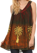 Sakkas Loonmiya Long Tall Embroidered Batik Sleeveless Tank Top Shirt Blouse Top