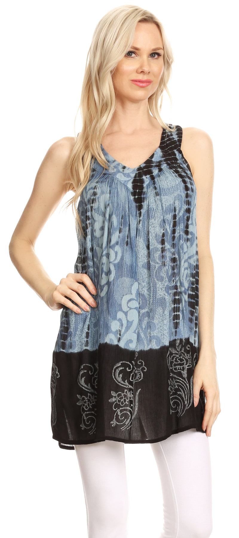 Sakkas Marie Sleeveless Crinkle V-neck Tank Top with Print