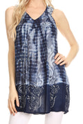Sakkas Marie Sleeveless Crinkle V-neck Tank Top with Print#color_Light Blue