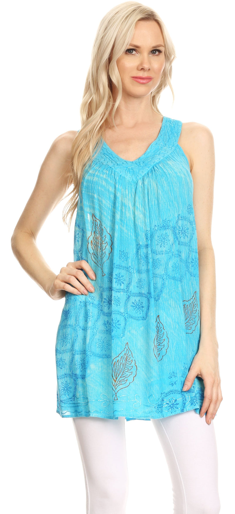 Sakkas Lea V-neck Crinkle Sleeveless embroidered  Tank top