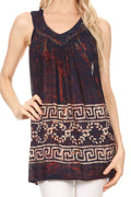 Sakkas Silvia Sleeveless V-neck Printed Tank Top Blouse#color_Royal blue