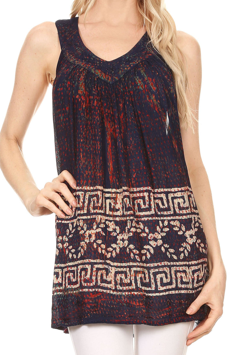 Sakkas Silvia Sleeveless V-neck Printed Tank Top Blouse