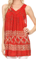 Sakkas Silvia Sleeveless V-neck Printed Tank Top Blouse#color_Tulip Red