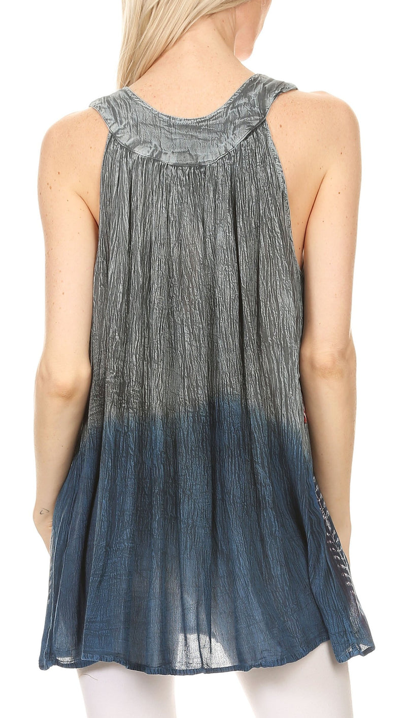 Sakkas Chiara Two Tone Sleeveless V-neck Tank Top Blouse