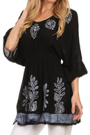 Sakkas Women's Embroidered Batik Gauzy Cotton Tunic Blouse