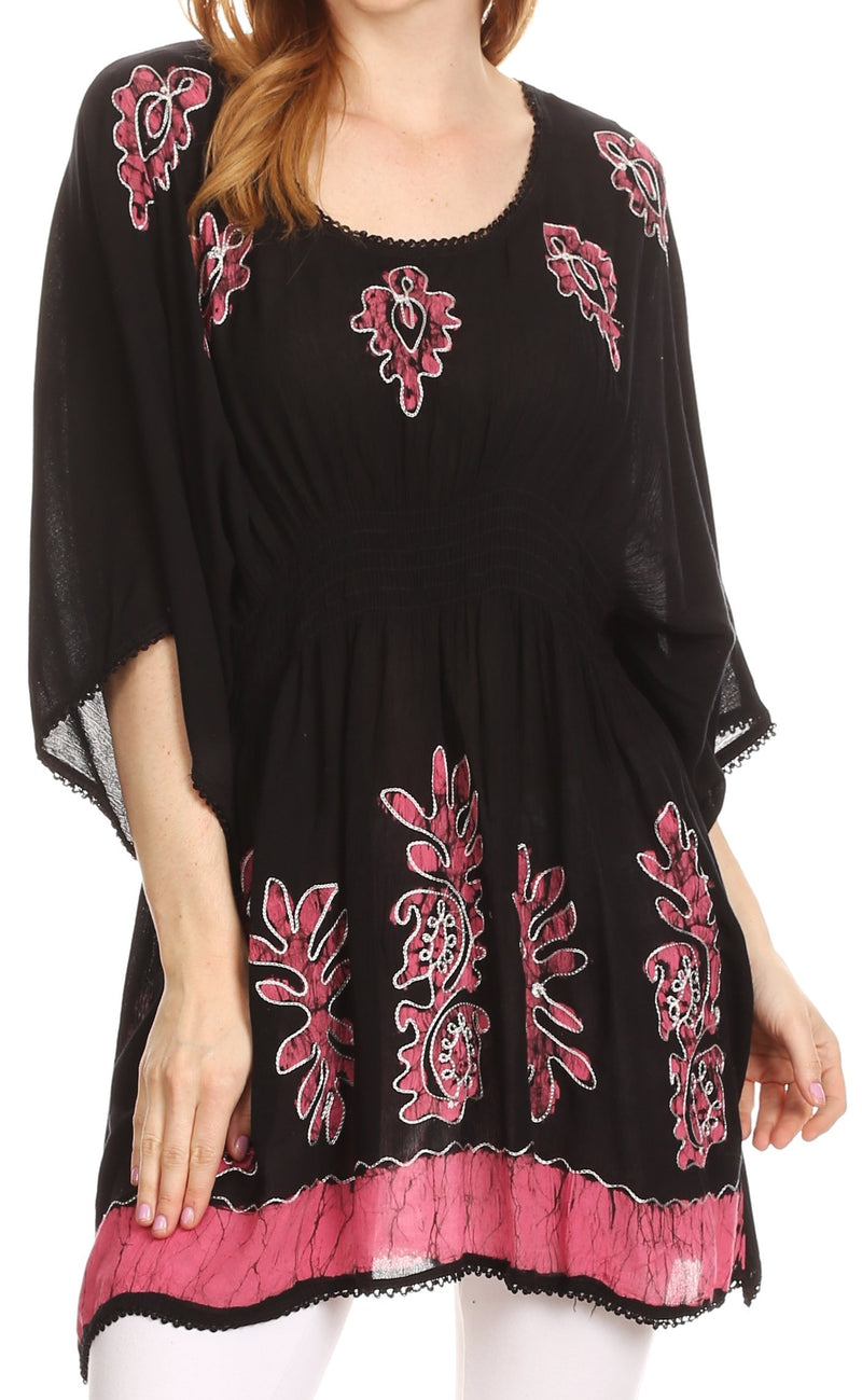 Sakkas Women's Embroidered Batik Gauzy Rayon Tunic Blouse