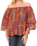 Sakkas Omari Off-shoulder Bell Sleeve Blouse Top Relax Fit Ankara African Wax#color_7-Orange/turquoise